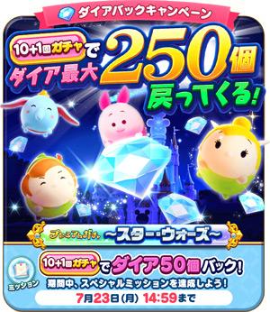 【ツムツムランド】ガチャを引いたらダイア最大250個戻ってくる?!かなりお得なダイアイベント!